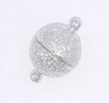 2 x Frosted round rhodium magnetic ball clasp 10mm 50/50